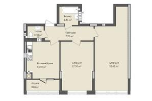 ЖК Комфорт Плюс: планировка 2-комнатной квартиры 73.65 м²
