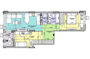 ЖК Комфорт Таун: планировка 2-комнатной квартиры 57.15 м²