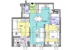 ЖК Комфорт Таун: планировка 2-комнатной квартиры 57.01 м²