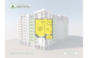 ЖК Комфорт Таун плюс: планування 1-кімнатної квартири 43.72 м²