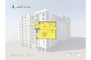 ЖК Комфорт Таун плюс: планування 1-кімнатної квартири 43.08 м²