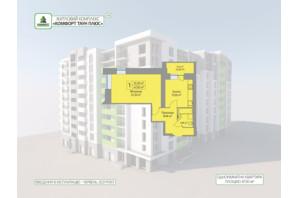 ЖК Комфорт Таун плюс: планування 1-кімнатної квартири 47.3 м²