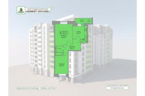 ЖК Комфорт Таун плюс: планировка 2-комнатной квартиры 66.41 м²