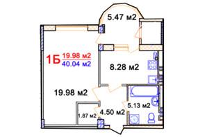 ЖК Комфорт: планування 1-кімнатної квартири 40.04 м²