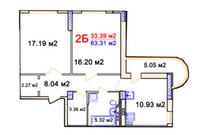 ЖК Комфорт: планування 1-кімнатної квартири 63.31 м²