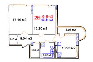 ЖК Комфорт: планировка 1-комнатной квартиры 63.31 м²