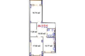 ЖК Комфорт: планировка 2-комнатной квартиры 76.84 м²