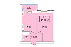 ЖК Комфортний: планування 1-кімнатної квартири 43.71 м²