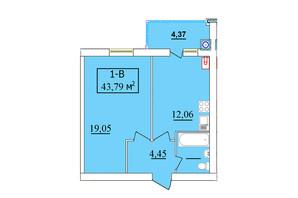 ЖК Комфортний: планування 1-кімнатної квартири 43.79 м²