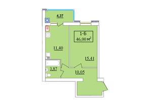 ЖК Комфортний: планування 1-кімнатної квартири 46 м²