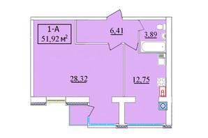 ЖК Комфортний: планування 1-кімнатної квартири 52 м²