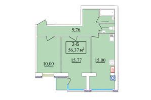 ЖК Комфортний: планування 2-кімнатної квартири 56 м²