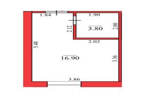 ЖК Конторський-2: планування 1-кімнатної квартири 17.8 м²