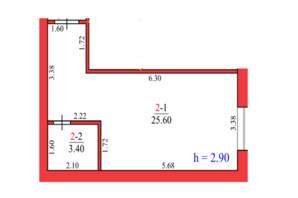 ЖК Конторський-2: планування 1-кімнатної квартири 27.7 м²