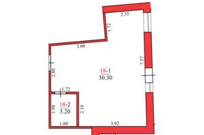 ЖК Конторский: планировка 1-комнатной квартиры 29.6 м²