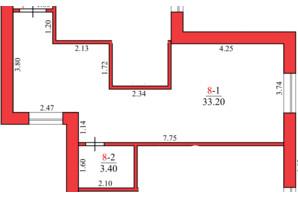 ЖК Конторский: планировка 1-комнатной квартиры 32 м²