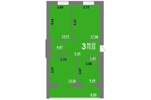 ЖК Концепт: планування 3-кімнатної квартири 73.33 м²