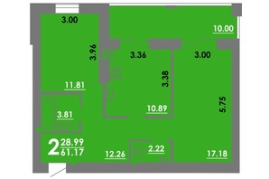 ЖК Концепт: планування 2-кімнатної квартири 61.17 м²