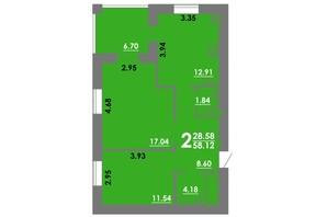 ЖК Концепт: планування 2-кімнатної квартири 58.12 м²