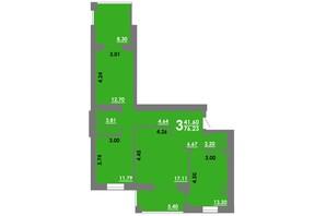 ЖК Концепт: планування 3-кімнатної квартири 76.23 м²
