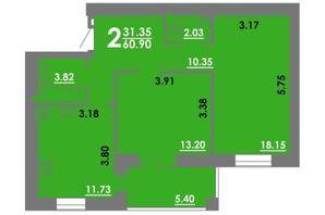 ЖК Концепт: планування 2-кімнатної квартири 60.9 м²