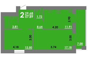 ЖК Концепт: планування 2-кімнатної квартири 57.89 м²
