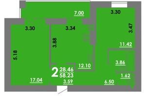 ЖК Концепт: планування 2-кімнатної квартири 58.23 м²