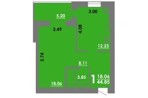 ЖК Концепт: планировка 1-комнатной квартиры 44.85 м²