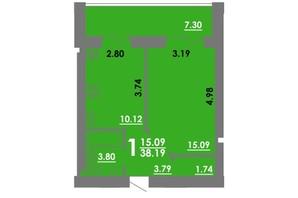 ЖК Концепт: планировка 1-комнатной квартиры 38.19 м²
