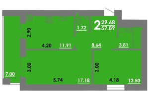 ЖК Концепт: планировка 2-комнатной квартиры 57.89 м²