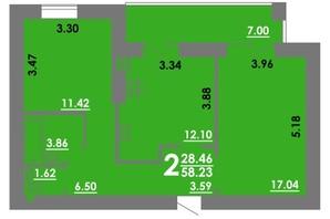 ЖК Концепт: планировка 2-комнатной квартиры 58.23 м²