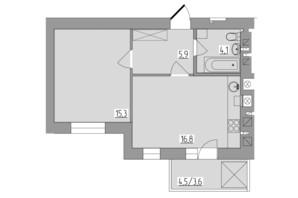 ЖК Корольова: планування 1-кімнатної квартири 45.7 м²