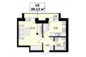 ЖК Кошицький: планировка 1-комнатной квартиры 38 м²
