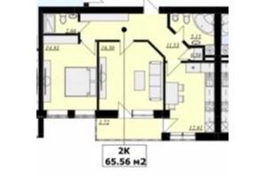 ЖК Кошицький: планировка 2-комнатной квартиры 65.56 м²