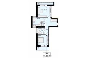 ЖК Кошицький: планировка 2-комнатной квартиры 64.29 м²