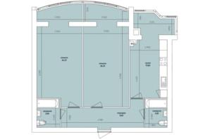ЖК Ковалівський: планування 2-кімнатної квартири 86.31 м²