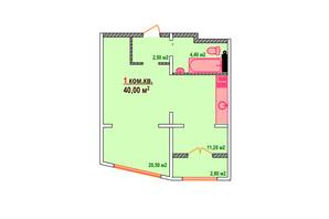 ЖК Козак Сіті: планування 1-кімнатної квартири 40 м²