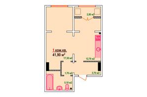 ЖК Козак Сіті: планування 1-кімнатної квартири 41.9 м²