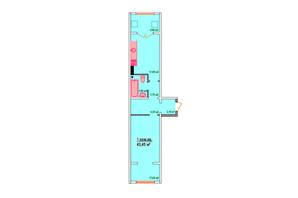 ЖК Козак Сіті: планування 1-кімнатної квартири 43.45 м²