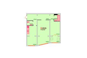 ЖК Козак Сіті: планування 2-кімнатної квартири 71.35 м²