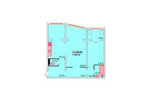 ЖК Козак Сіті: планування 2-кімнатної квартири 71.95 м²