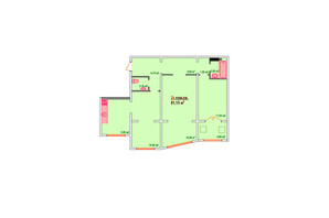 ЖК Козак Сіті: планування 2-кімнатної квартири 81.15 м²