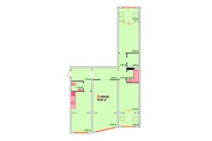 ЖК Козак Сіті: планування 3-кімнатної квартири 90.8 м²
