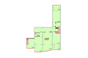 ЖК Козак Сіті: планування 3-кімнатної квартири 100.6 м²