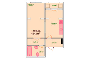 ЖК Козак Сіті: планування 1-кімнатної квартири 42.42 м²