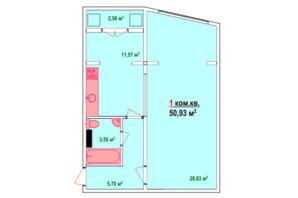 ЖК Козак Сіті: планування 1-кімнатної квартири 50.93 м²
