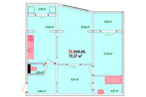 ЖК Козак Сіті: планування 2-кімнатної квартири 70.37 м²