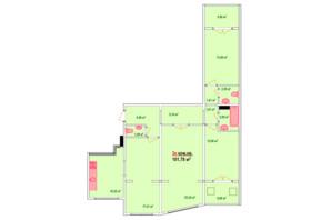 ЖК Козак Сіті: планування 3-кімнатної квартири 101.78 м²