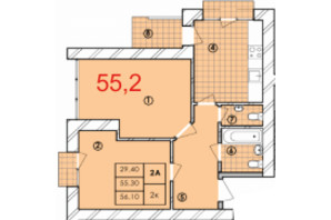 ЖК Крайобраз: планировка 2-комнатной квартиры 55.2 м²
