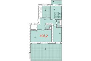 ЖК Крайобраз: планировка 3-комнатной квартиры 105.2 м²